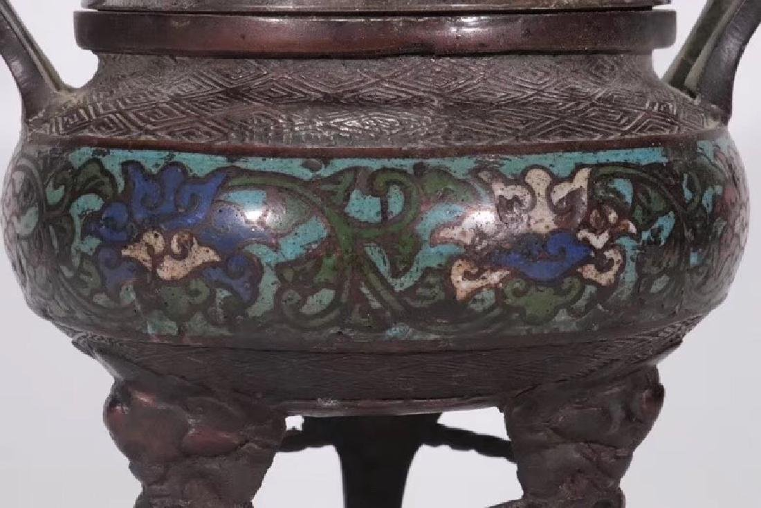 A Bronze Cloisonne Censer With Beast Cover - 4