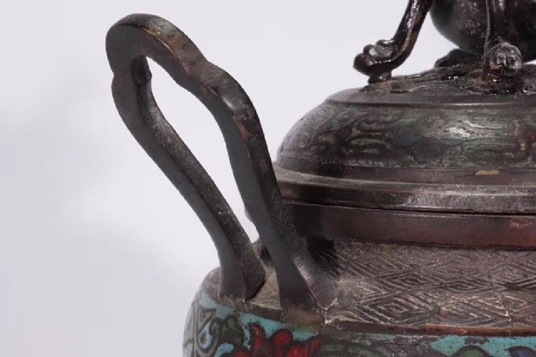 A Bronze Cloisonne Censer With Beast Cover - 6