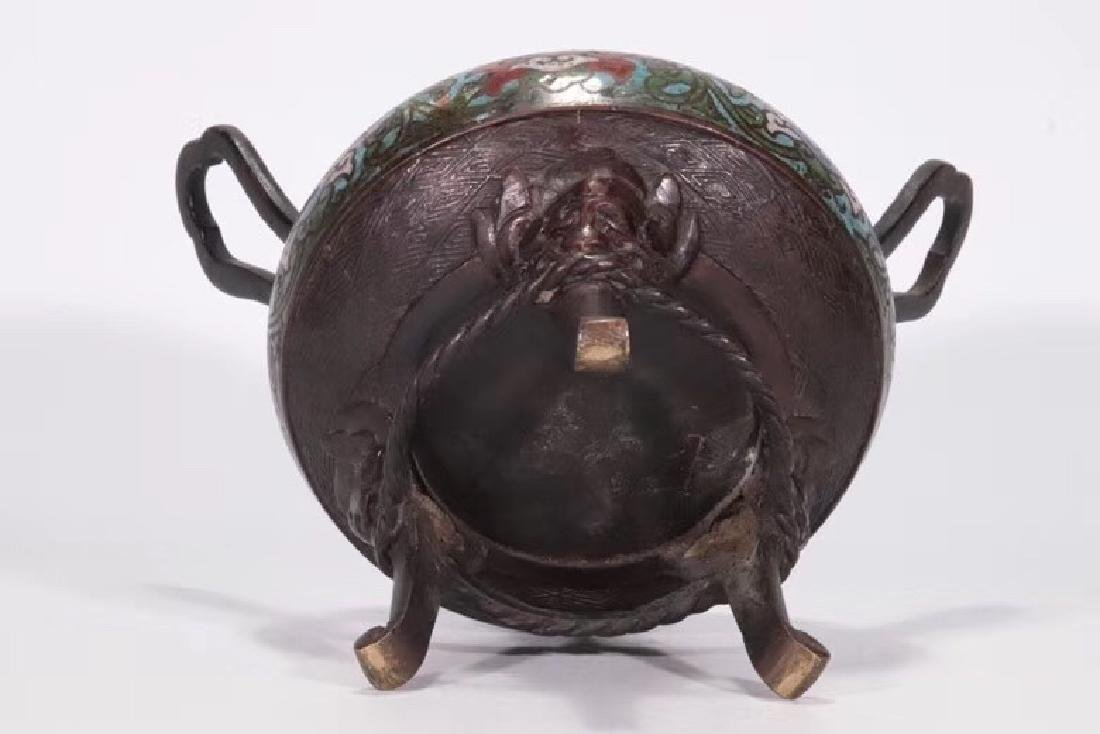 A Bronze Cloisonne Censer With Beast Cover - 8
