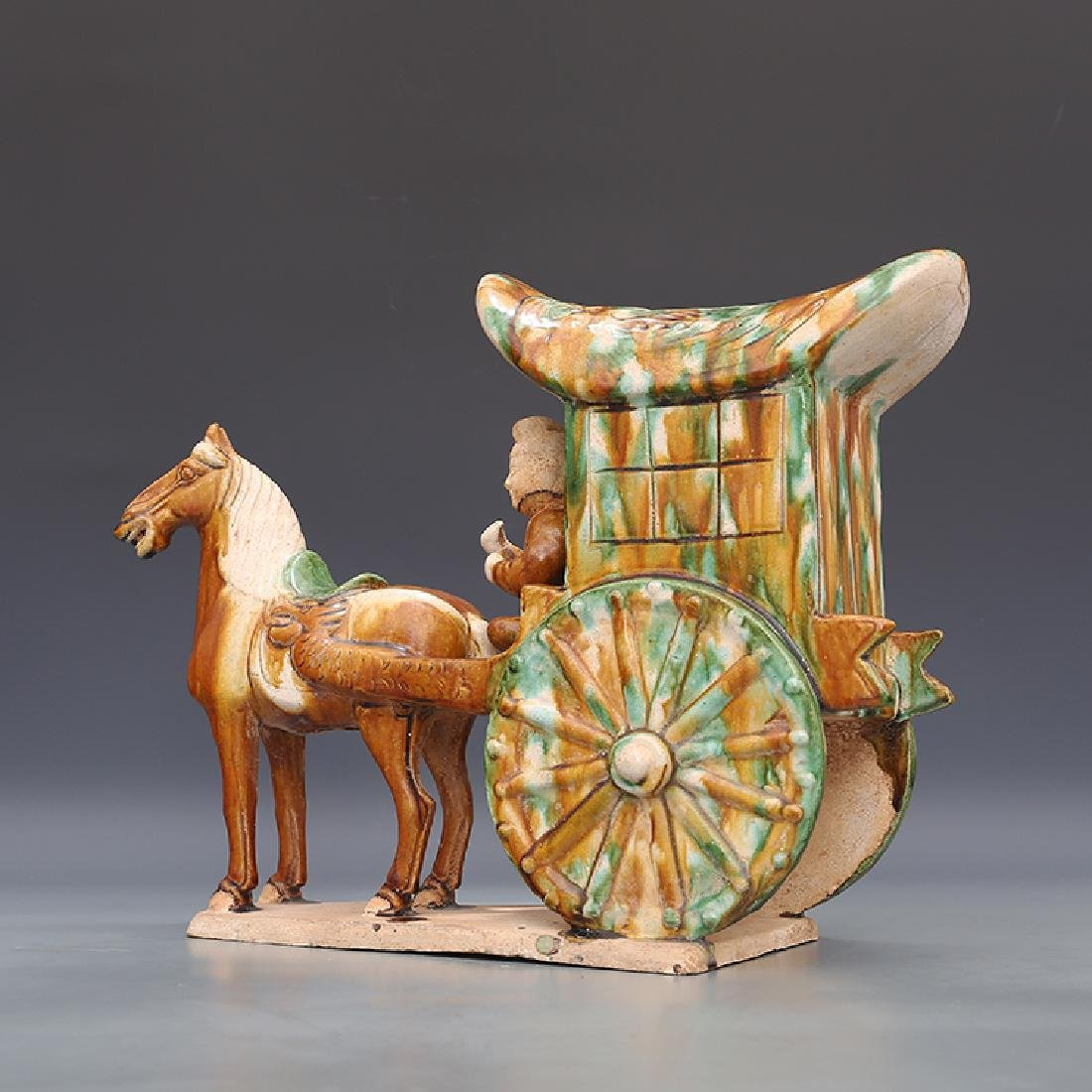 A Tangsancai Human Riding Carriage - 2