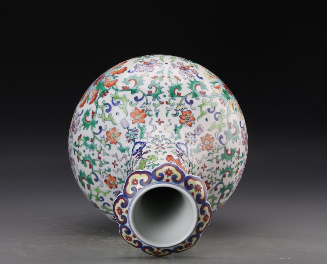 CHINESE DOUCAI VASE WITH QIANLONG MARK - 10