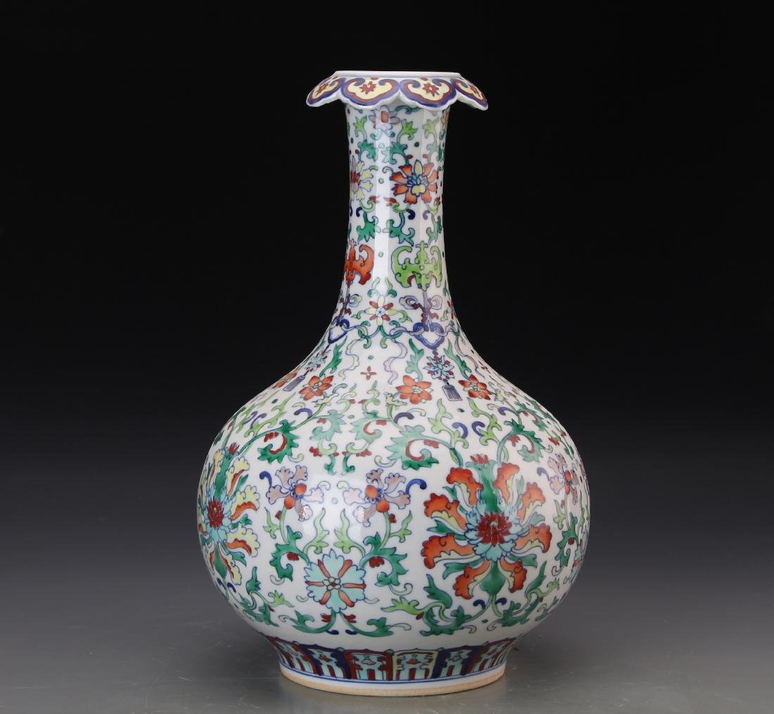 CHINESE DOUCAI VASE WITH QIANLONG MARK