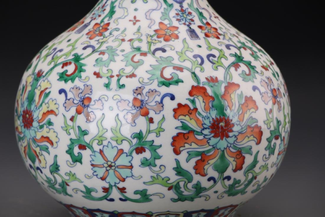CHINESE DOUCAI VASE WITH QIANLONG MARK - 2