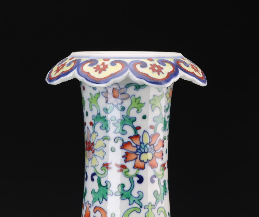 CHINESE DOUCAI VASE WITH QIANLONG MARK - 4