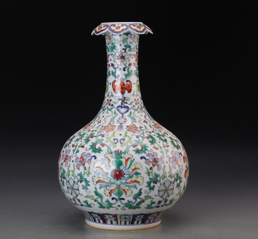CHINESE DOUCAI VASE WITH QIANLONG MARK - 5