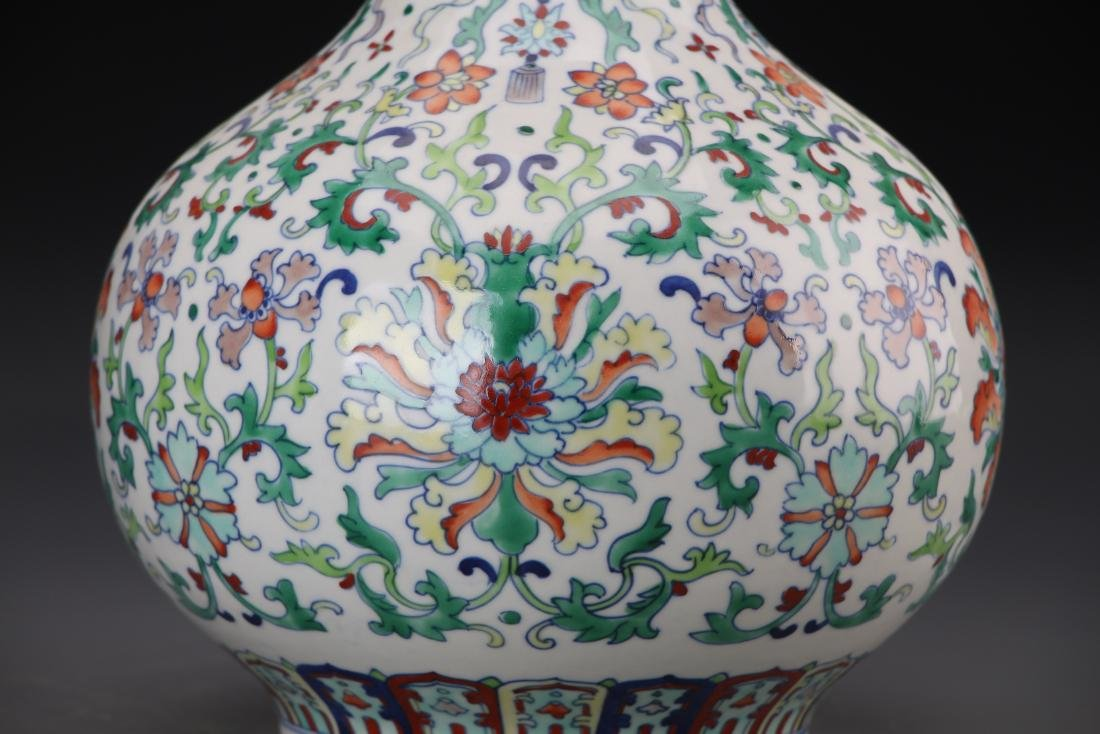 CHINESE DOUCAI VASE WITH QIANLONG MARK - 6