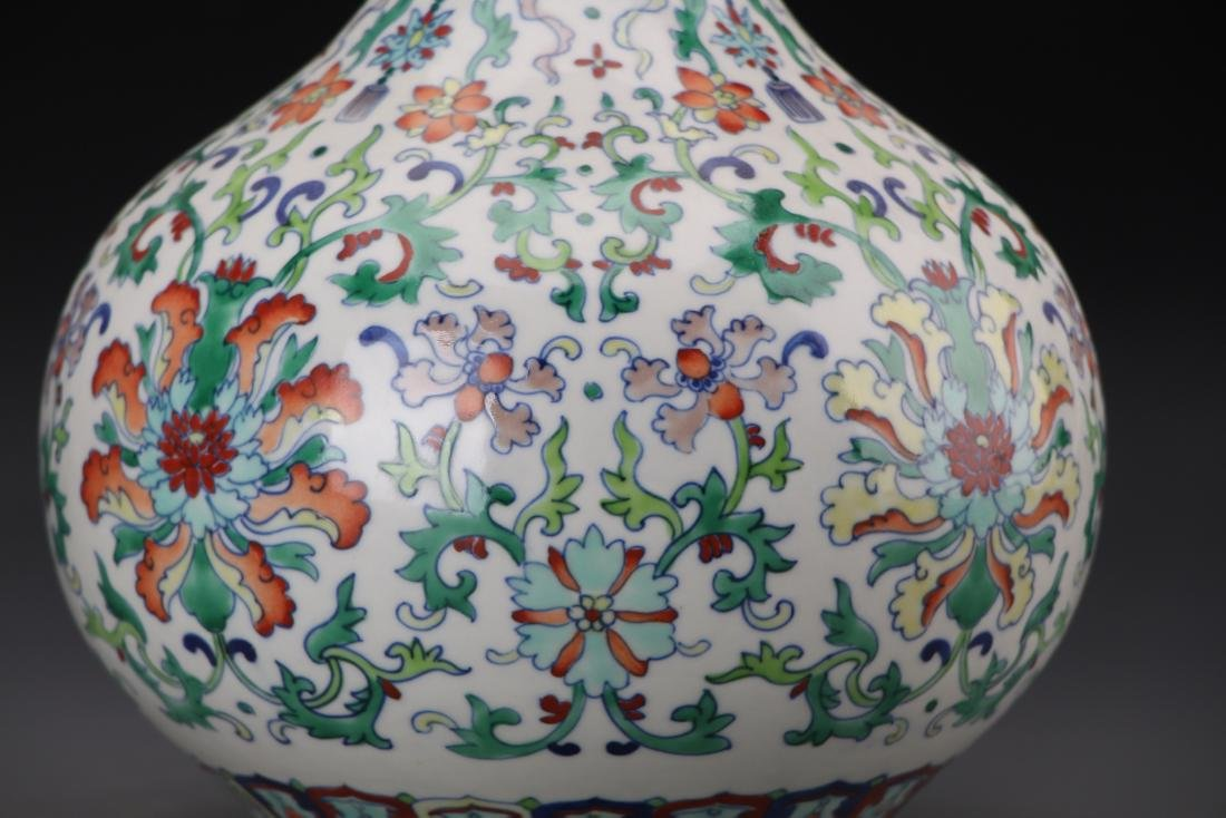 CHINESE DOUCAI VASE WITH QIANLONG MARK - 8