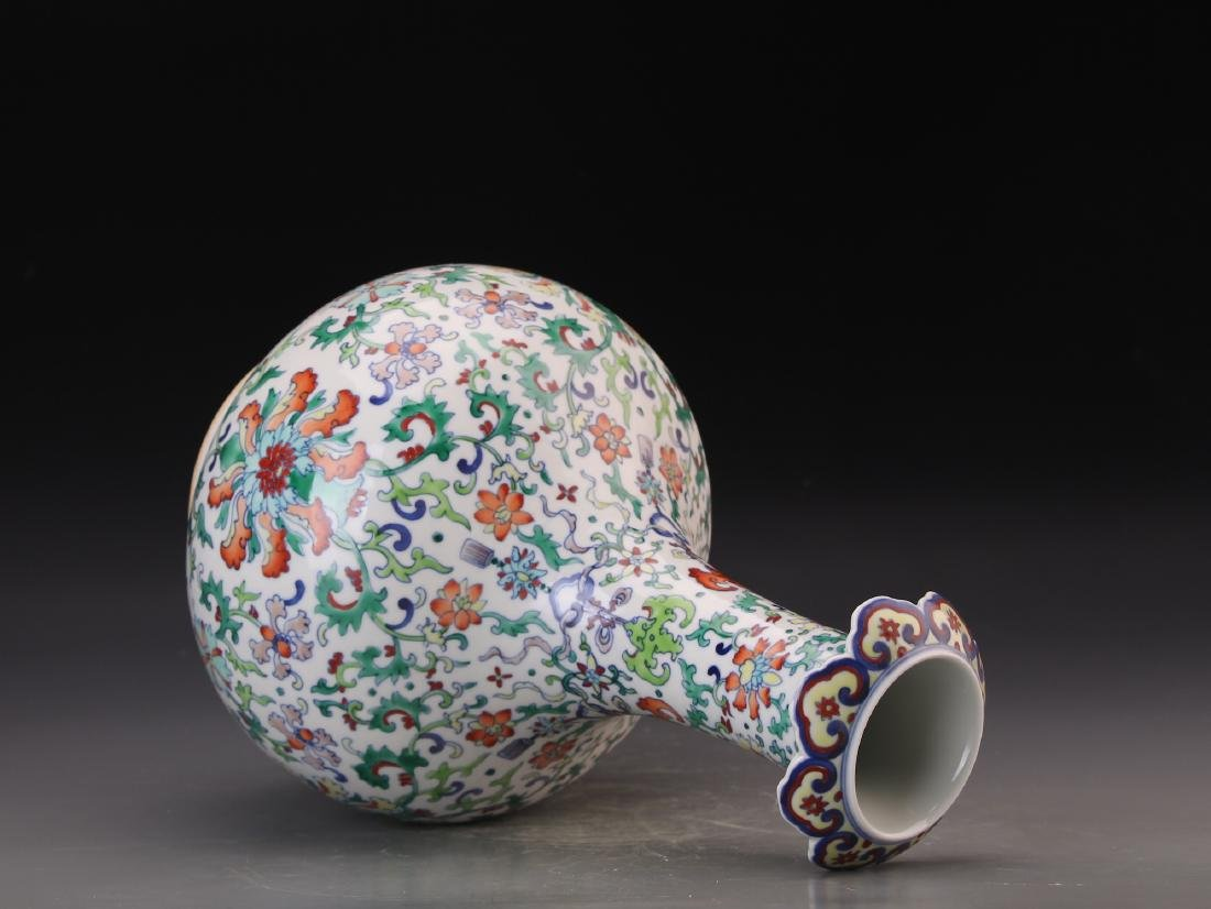 CHINESE DOUCAI VASE WITH QIANLONG MARK - 9