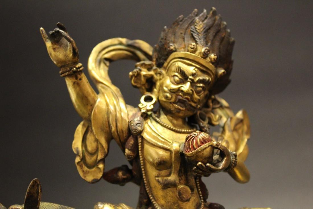 CHINESE GILT BRONZE BUDDHA STATUE - 6