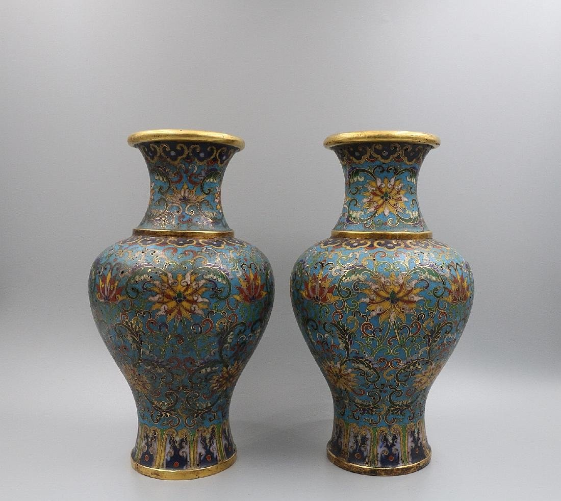 A PAIR OF CHINESE BRONZE CLOISONNE VASES