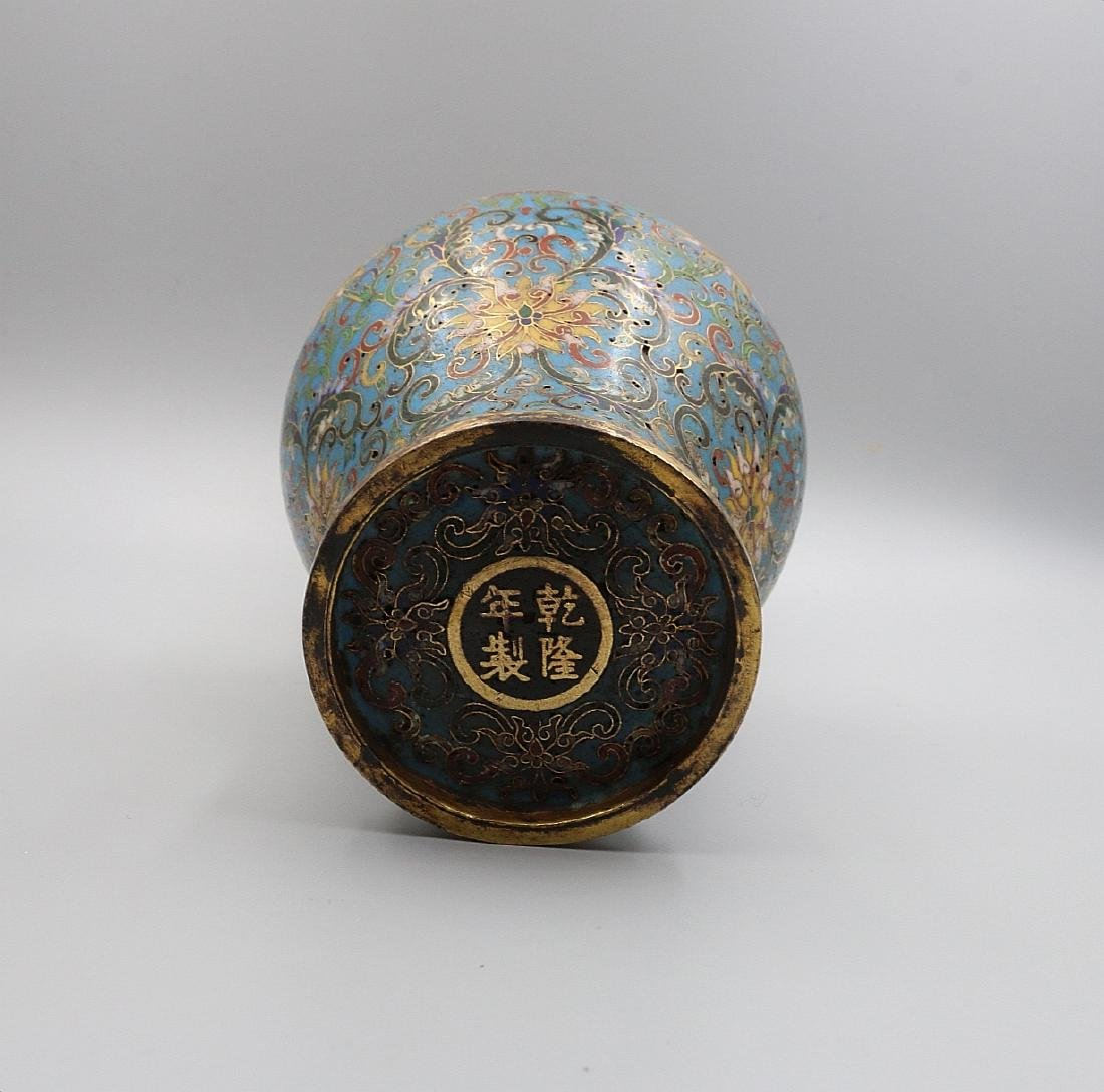 A PAIR OF CHINESE BRONZE CLOISONNE VASES - 3