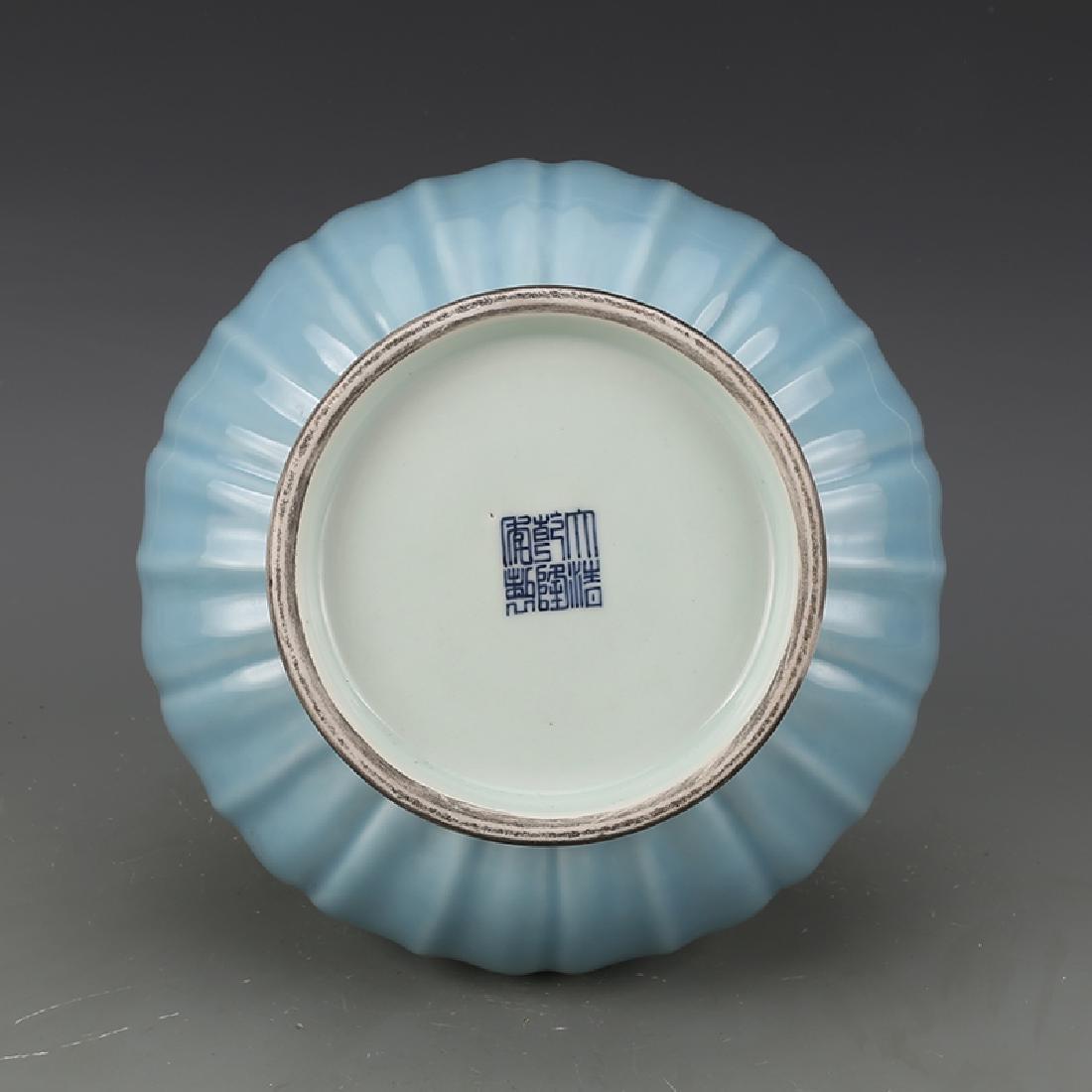 CHINESE BLUE GLAZED GOURD VASE WITH QIANLONG MARK - 4