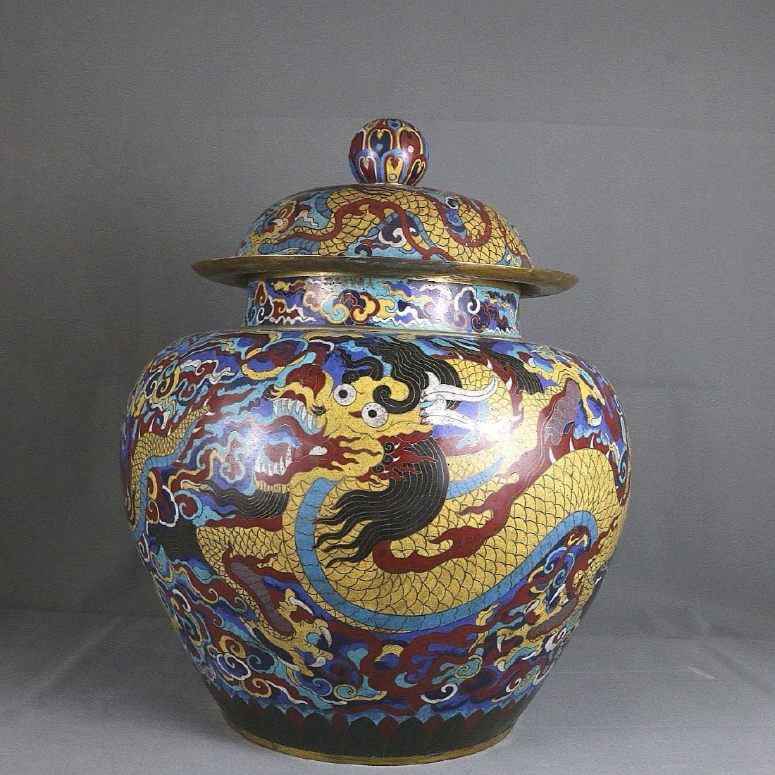 CHINESE BRONZE CLOISONNE JAR