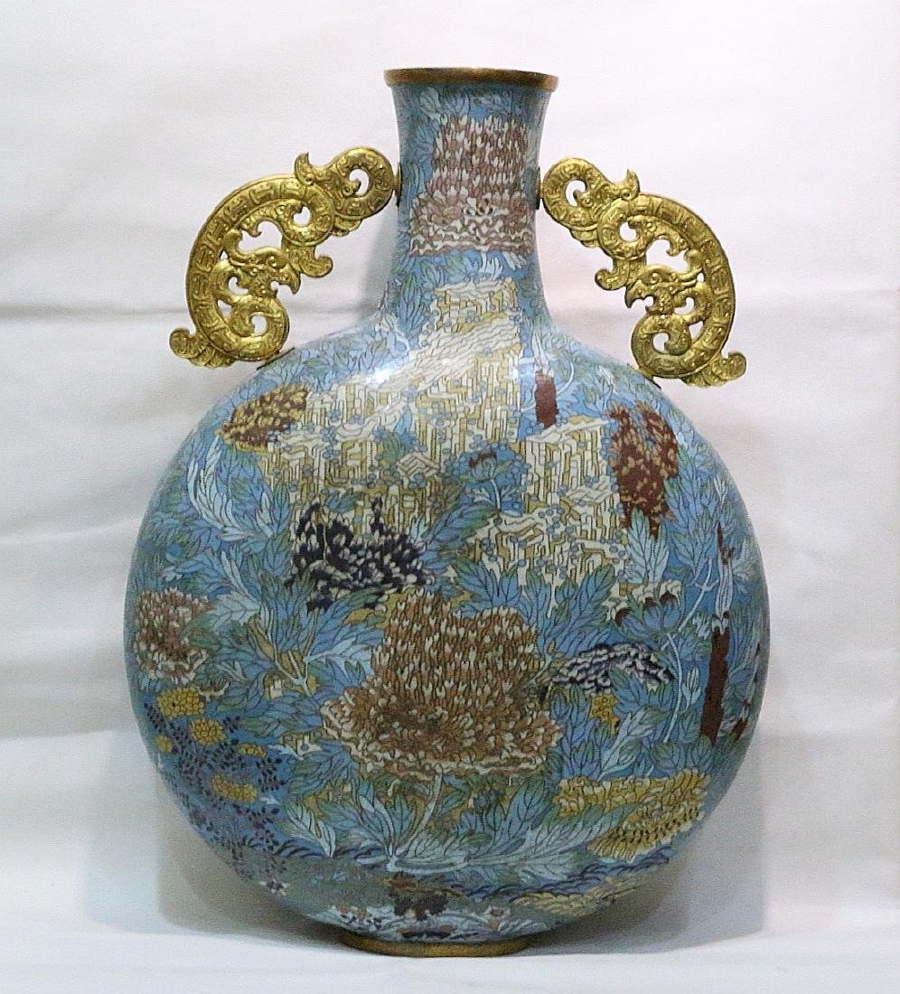 CHINESE BRONZE CLOISONNE MOONFLASK