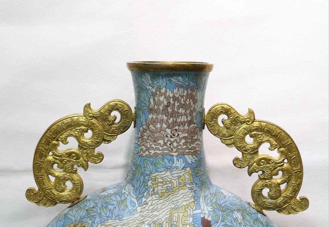 CHINESE BRONZE CLOISONNE MOONFLASK - 2