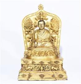 A GILT BRONZE BUDDHA STATUE OF MASTER