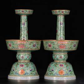 A PAIR OF CHINESE GILT GREEN GLAZED FAMILLE ROSE CANDLE