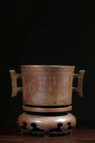CHINESE INLAID SILVER BRONZE CENSER WITH BRONZE STAND