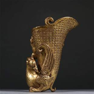 CHINESE GILT BRONZE CUP