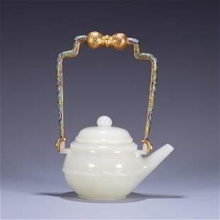 CHINESE HETIAN JADE TEAPOT