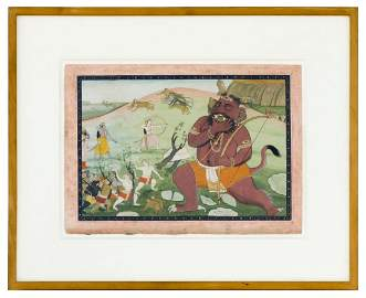 Painting of battle with an East Indian god with fangs