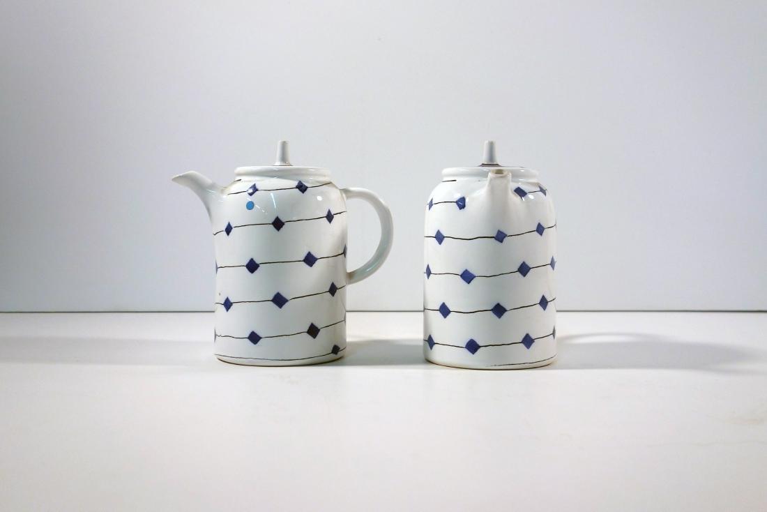 Hedwig Bollhagen hedwig bollhagen pair of tea pots with blue diamonds