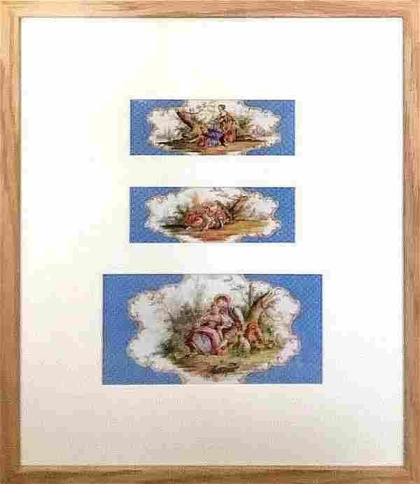 A framed set of three KPM BERLIN porcelain plaques