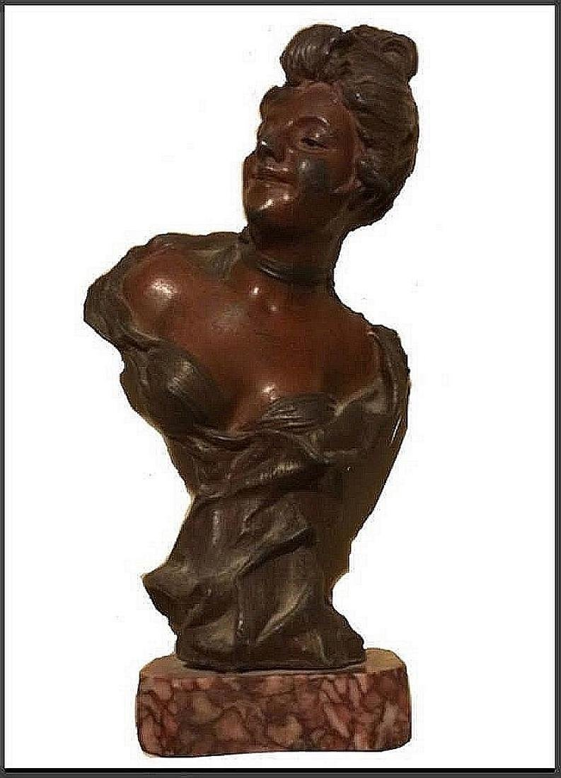 Sculpture of a young woman, Art Nevo, French origin,