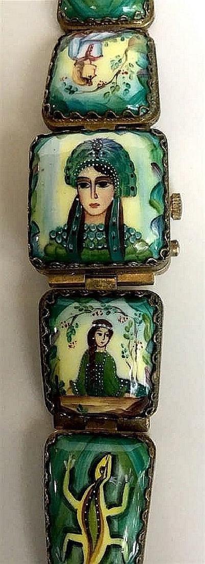 A Russian woman's bracelet, hand-painted enamel on
