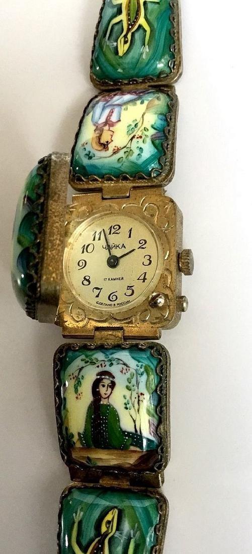 A Russian woman's bracelet, hand-painted enamel on - 2