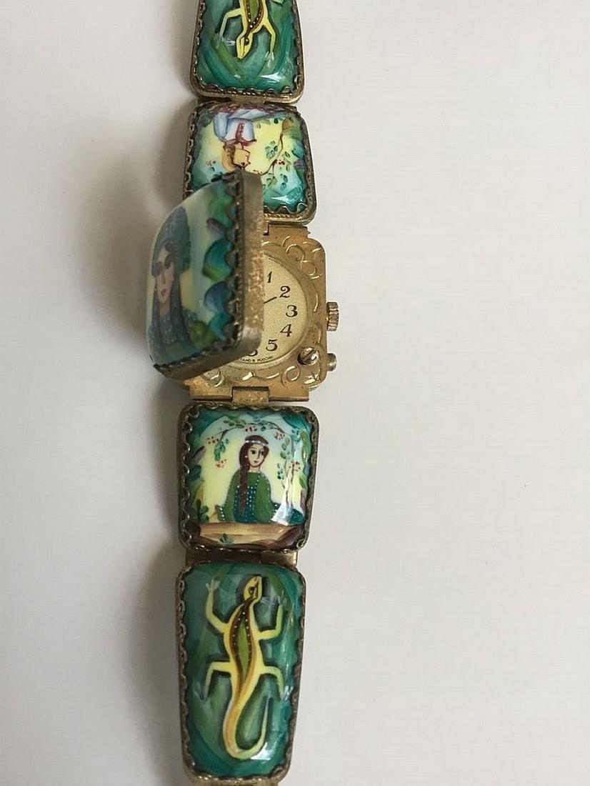 A Russian woman's bracelet, hand-painted enamel on - 3