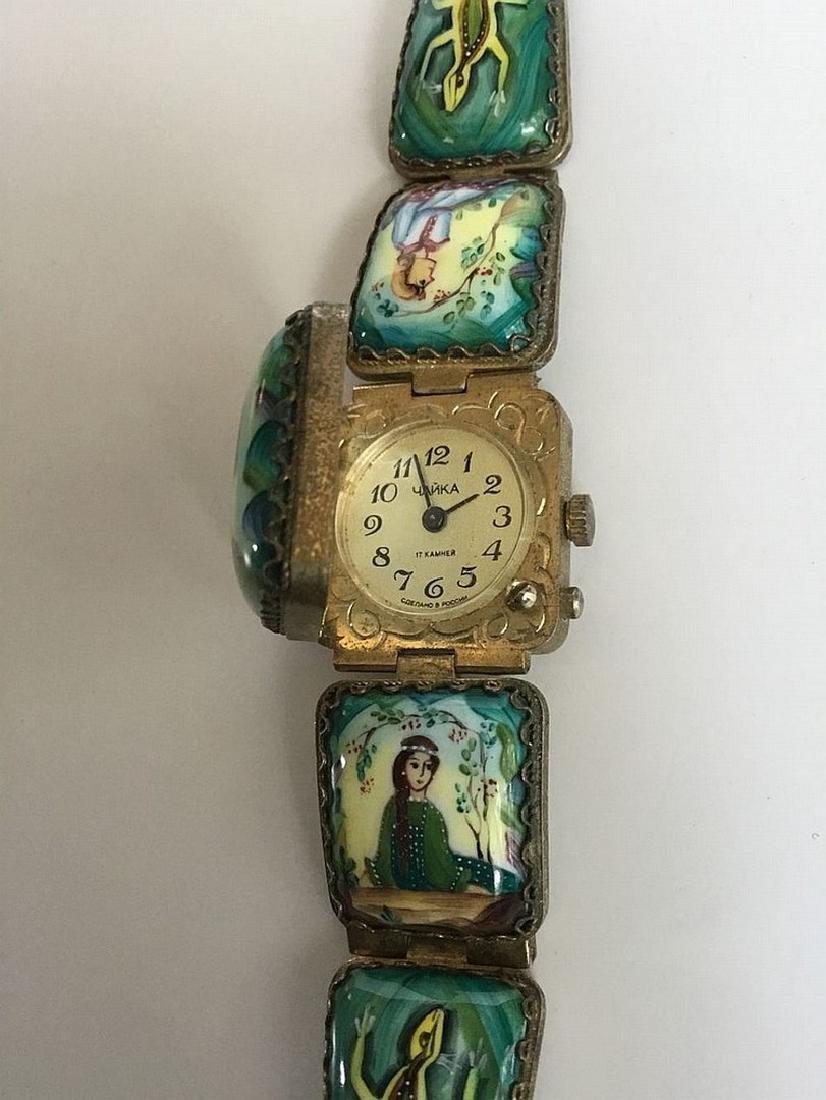 A Russian woman's bracelet, hand-painted enamel on - 4