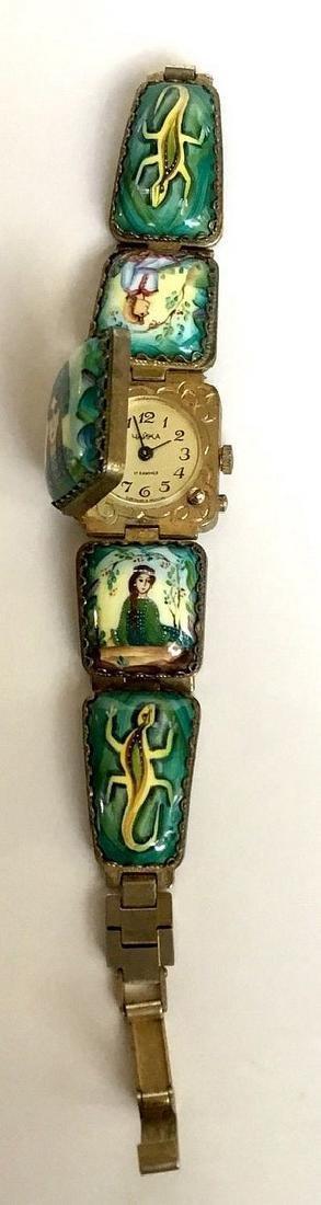 A Russian woman's bracelet, hand-painted enamel on - 5