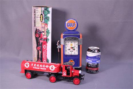 A Texaco truck and gas pump