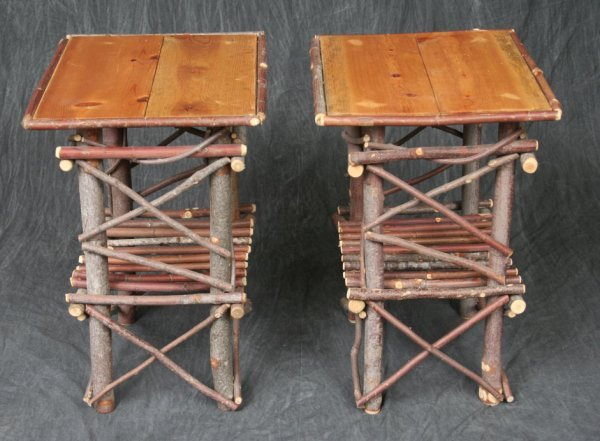 7: Pair Rustic Branch Side Tables