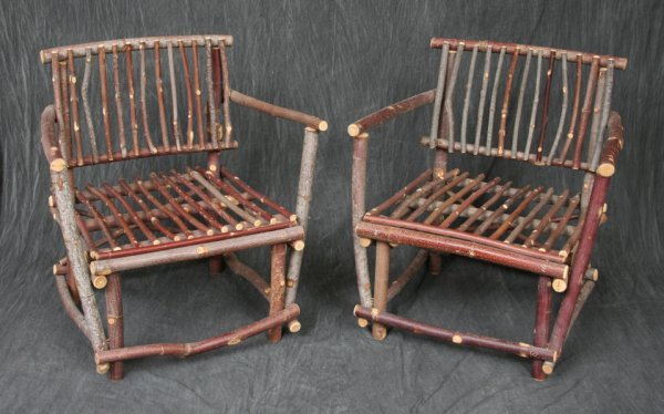 8: Group Rustic Branch Arm Chairs