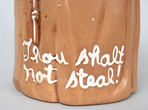 "305: ""Thou Shalt Not Steal"" Monk Cookie Jar - 4"