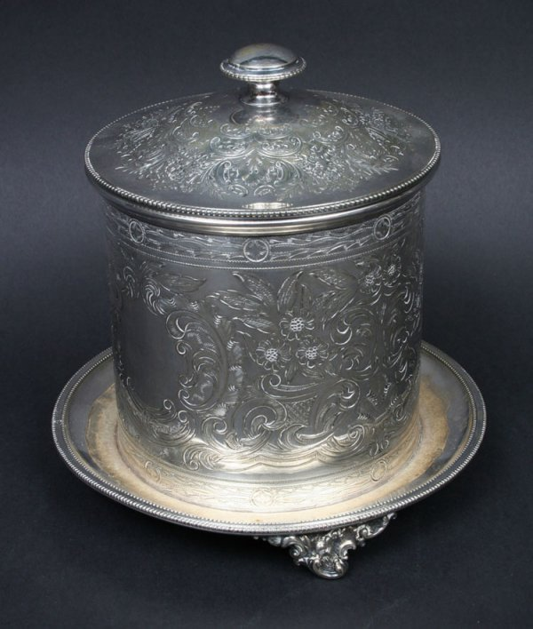 9: English Plated Silver Biscuit Barrel