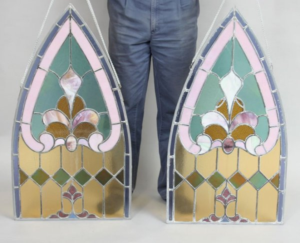 19: Pair Stained Glass Windows