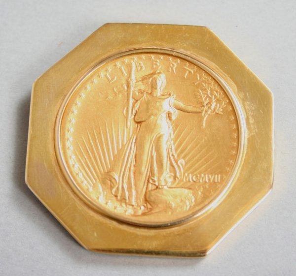 317: $20 Double Eagle Gold Piece Brooch