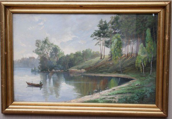 16: Muller Pankow Fishing Scene Painting
