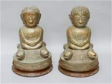 156: Pair Southeast Asian Buddha Figures