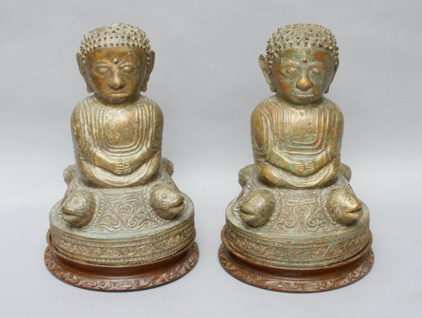 156: Pair Southeast Asian Buddha Figures