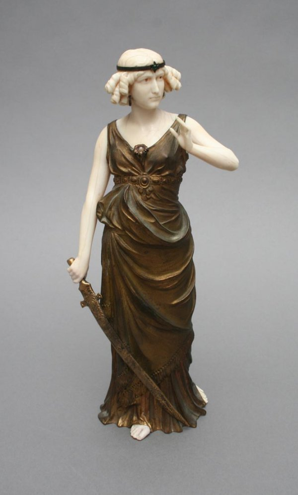 91B: Continental Bronze and Ivory Classical Lady Sculpt