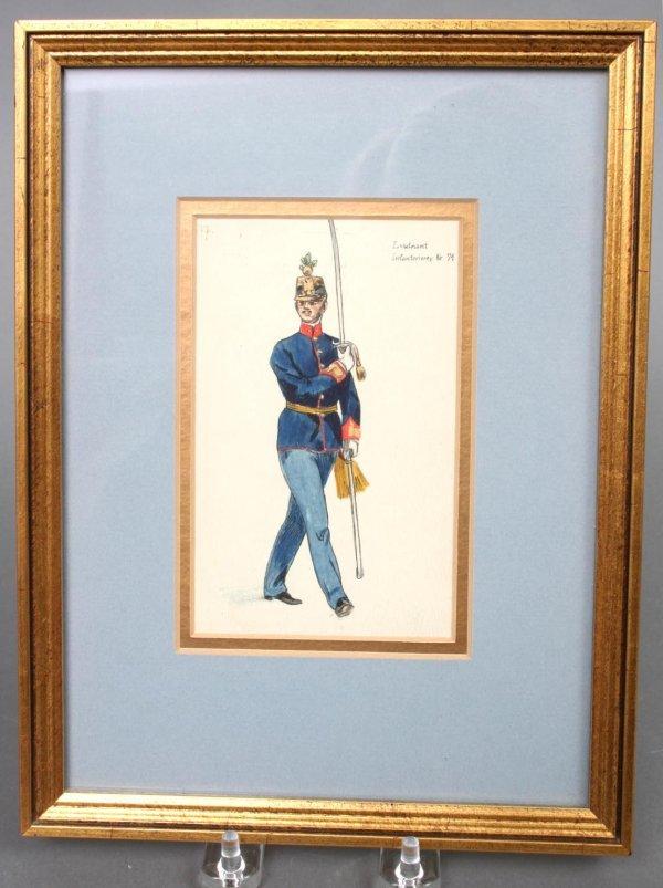 22: French Militaria Watercolor 19th c.