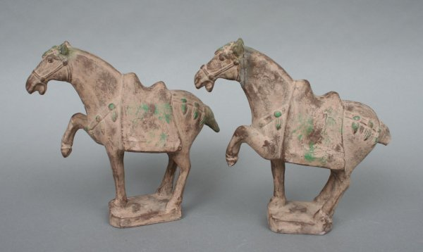 26B: Pair Han Style Chinese Pottery Horses