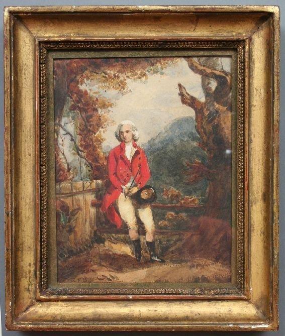 34: 19th c. English Hunt Motif Watercolor