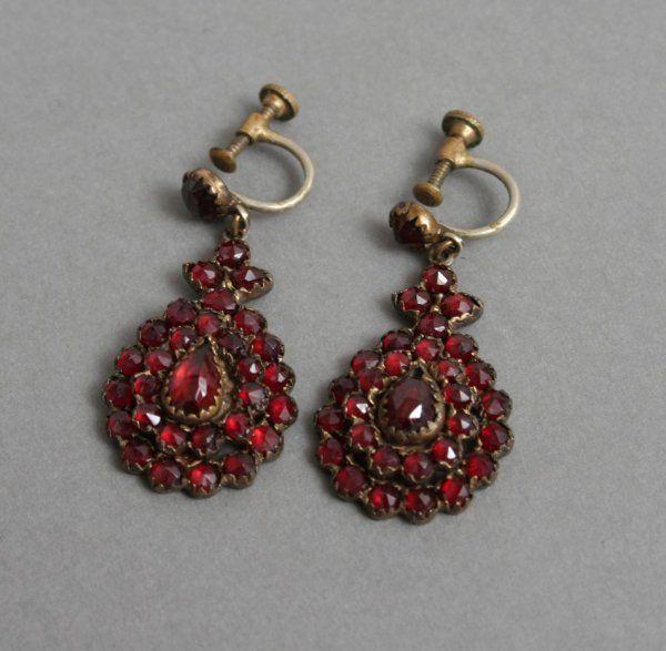 Antique Bohemian Garnet Earrings