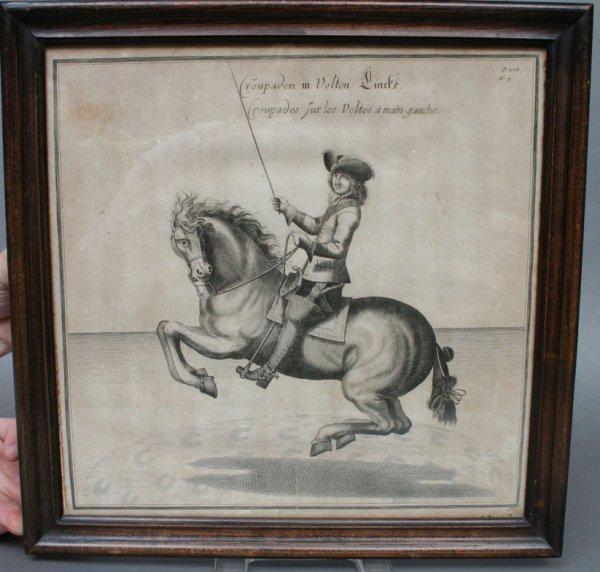 25A: Trio of 18th c. Equestrian or Dressage Horse Print