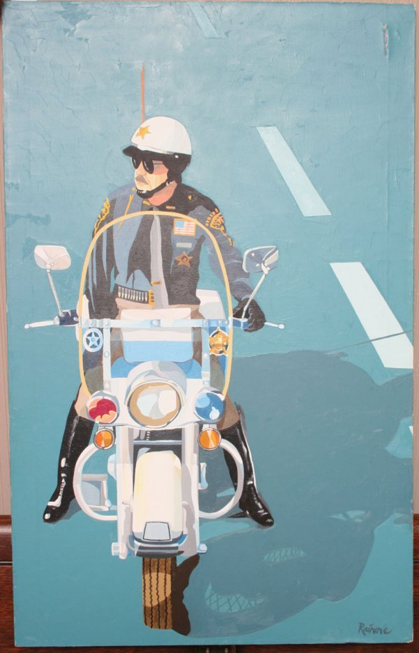 37A: Cleveland Motorcycle Police  Man Portrait Oil Pain